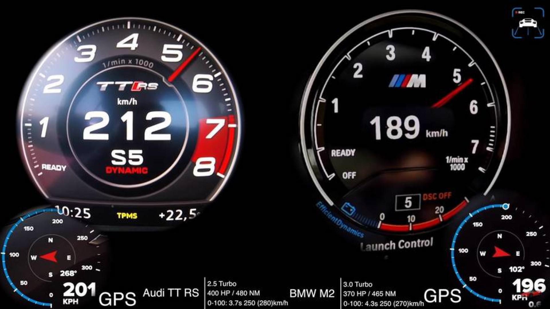 Audi TT RS affronte la BMW M2 pour un match au 0 à 250 km/h.