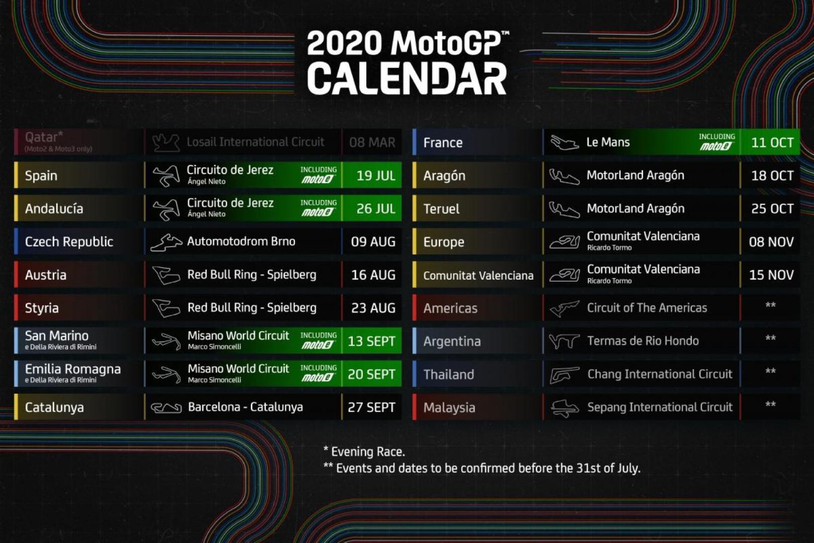 Moto GP : La saison débutera le 19 juillet à Jerez